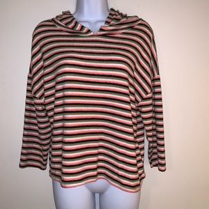 Poof Long-Sleeved Striped Top With Hood